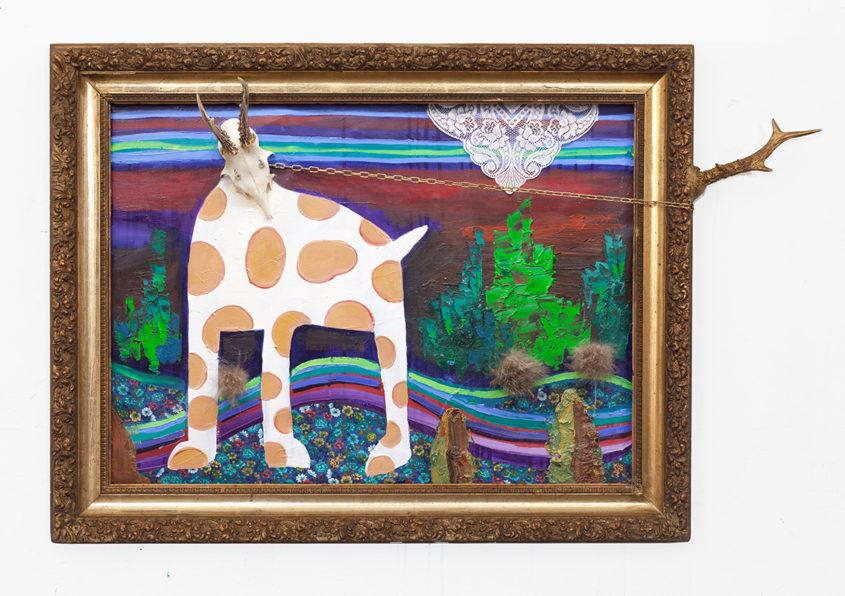 Cow-Dear in landscape, mixed media, 73x94cm, 2011