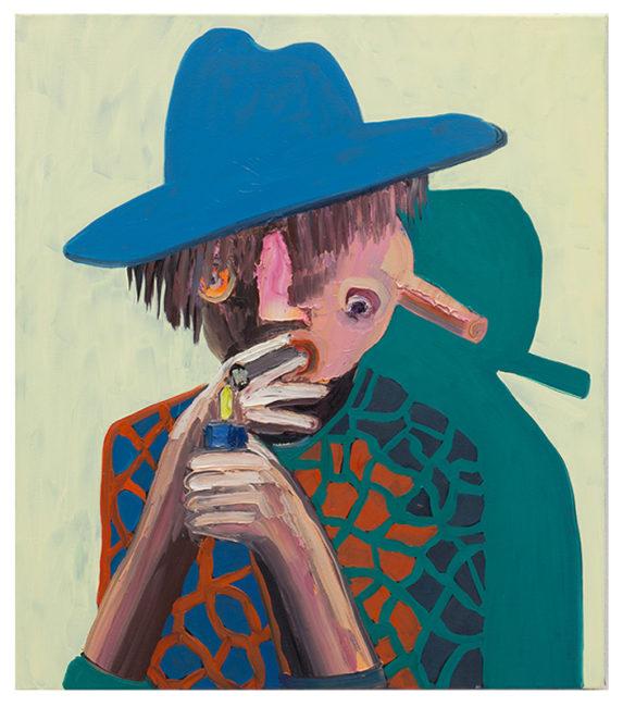 Doppelkopf mit Zigarre, 80x70cm, , öl auf Leinwand, 2014/15