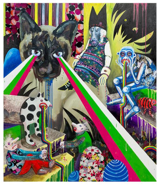 Lazerpussy, mixed media on canvas, 240x206cm, 2011