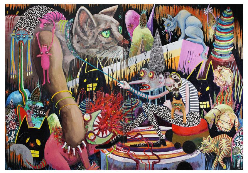 Big cat squeezing, mixed media on canvas, 280x400cm, 2011