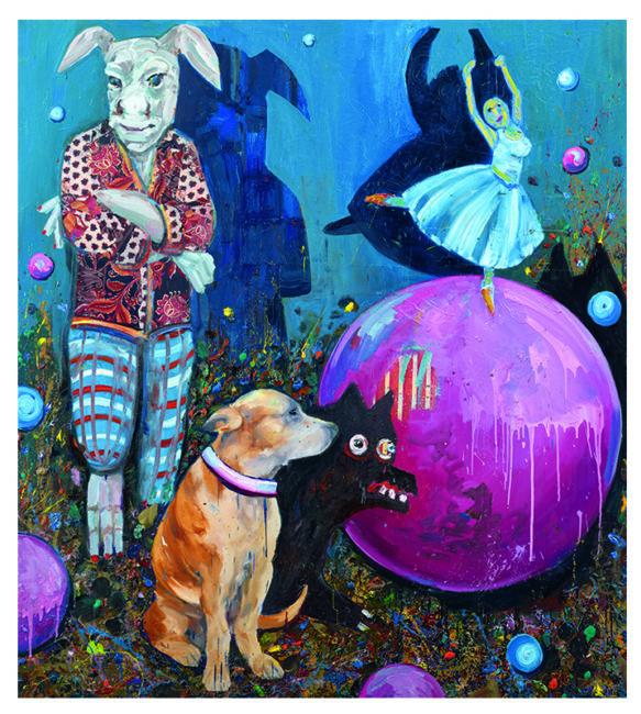 Hase Hund Tänzerin, oil on canvas, 200x178cm, 2009