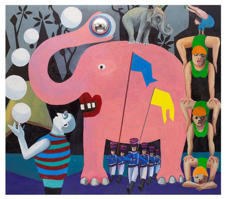 Elephant, oil on canvas, (plasticball) 220x250cm 2015