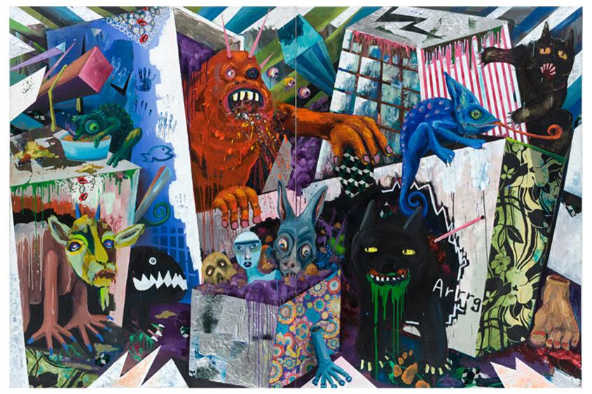 Kopftheater, mixed media on canvas, 260x400cm, 2009