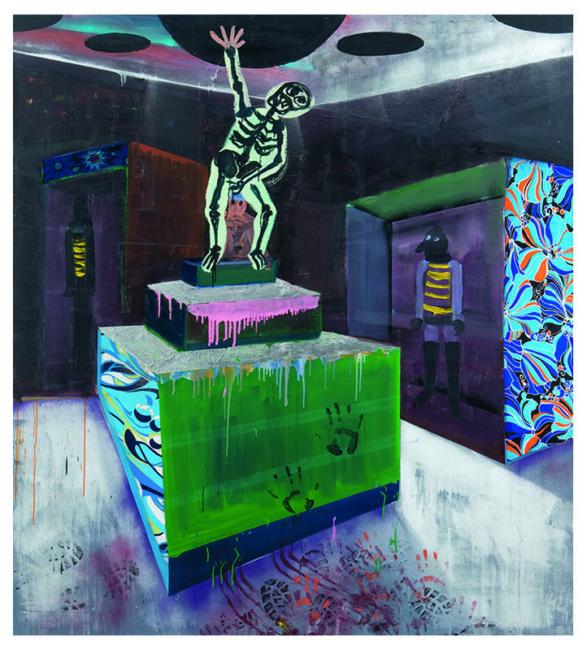 Im Keller, oil mixed media on canvas, 185x165cm, 2008