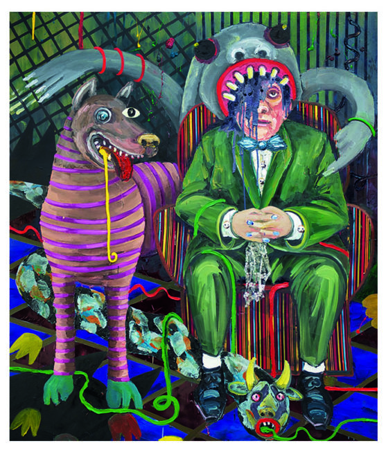 Master and dog, oil on canvas, 190x160cm, 2010