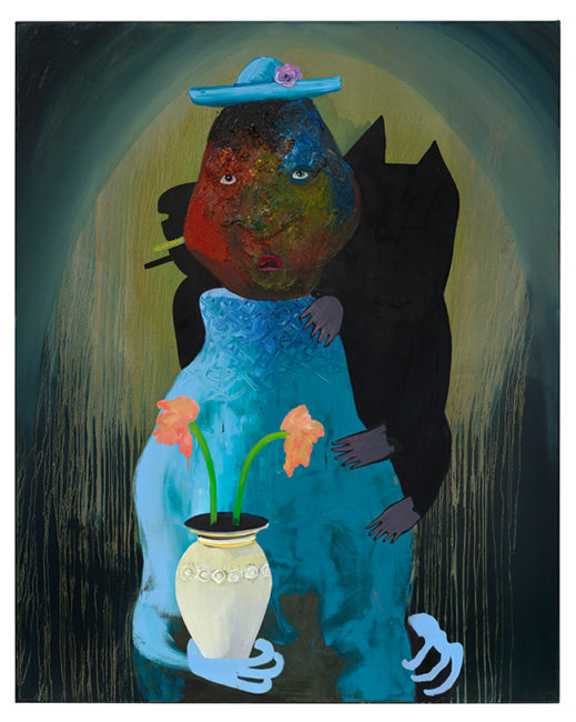 Mysterious woman with 2 flowers, oil on canvas, 150x120cm,, 2014
