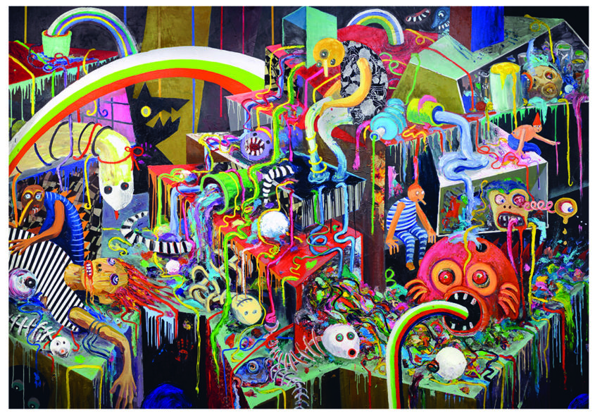 Party downstairs, oil and mixed media, 280x400cm, 2010