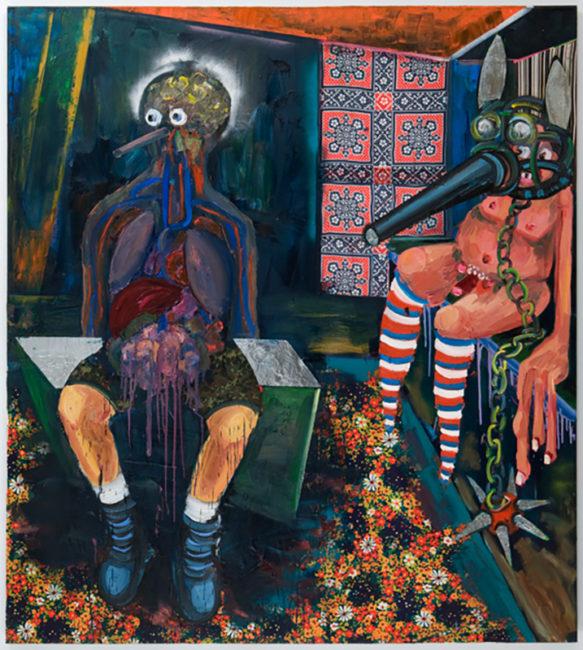 Schandmaske, oil fabric on canvas, 200x175cm, 2008
