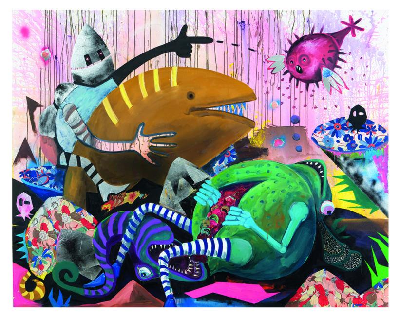 Wassermann, oil mixed media on canvas, 200x250cm, 2009