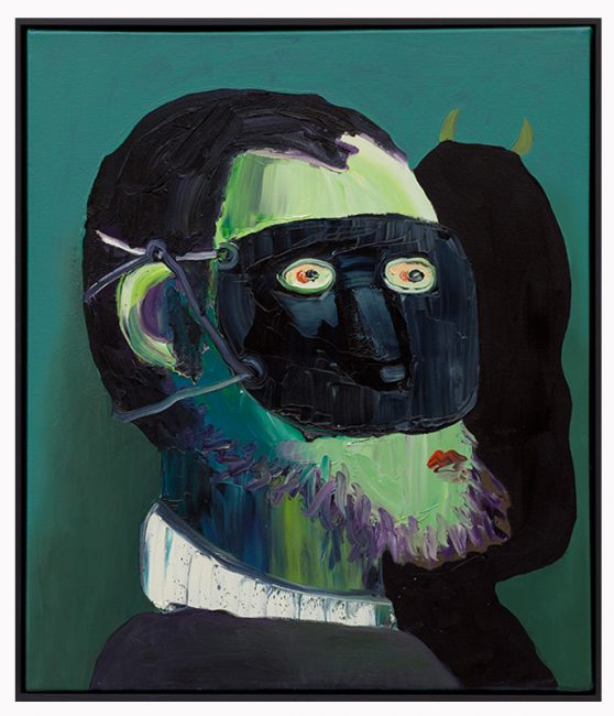 Greenface with mask , 70x60cm, 2013