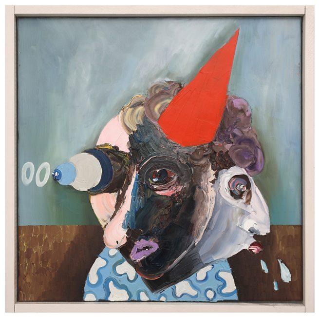 Doppelportrait mit Hut, Öl auf Leinwand, 70x70cm, 2017