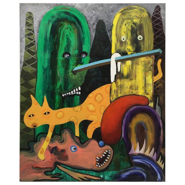 Wilde Gurken und Getier, 160x130 cm, oil on canvas, 2018